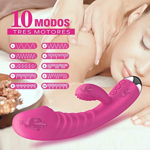Masajeador para Mujer,  con Función de Ca- lefacción y 10 Modos,  Vibrador de Tres Motores para Relajar el Cuerpo,  Impermeable,  Carga magnética