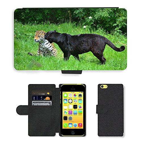 Just Mobile pour Hot Style Téléphone portable étui portefeuille en cuir PU avec fente pour carte//m00139747Panter Leopard Animaux//Apple iPhone 5C Pois Noir
