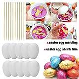 100 Deko-Eier Ostern [6 cm, Kunststoff] + 100 Aufhänger für Ostereier + 10 Schaschlik-Spieße fürs Marmorierenzum oder malen, Osterdekoration - 2