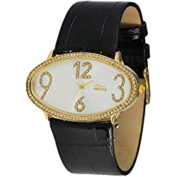Moog Paris - Egg, ladies watch with White dial, black strap - made in France - M44142-004