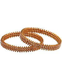Ganapathy Gems 1 Gram Gold Plated Bangles With Pearls (8522)