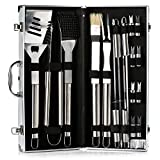 from IBUYTOP IBUYTOP BBQ Grill Tool Set Barbecue Grill Utensils Outdoor Grill Stainless Steel Accessories Grilling Tool Kit in Carrying Bag (17-Piece)