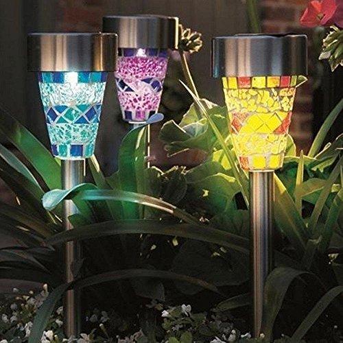 Philna12 3pcs Solar Powered Mosaic Glass Garden Walkway Path Lights Yard Lights