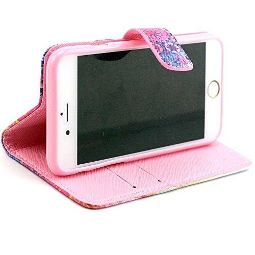 iPhone 6 Plus PU Étui Housse en Cuir Coque Flip Wallet Cover Case pour iPhone 6 Plus 5.5'' Étui de Protection avec Stand Magnétique (Hibou bleu) Aquarelle