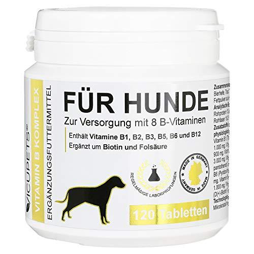Vicupets® Vitamin B Komplex für Hunde | 8 B-Vitamine und Mineralstoffe | für alte (Senior) Hunde und Junge (junior) Welpen | Made in Germany | 120 Stück