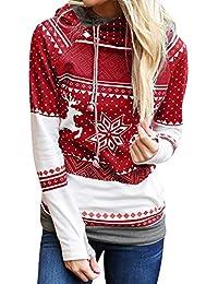 VJGOAL Mujeres Otoño E Invierno Moda Casual Navidad Dots Elk Copo de Nieve Tops Tops con Capucha Sudadera Pullover Blusa