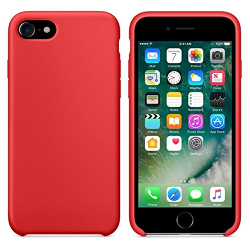 Ouneed® Hülle für iphone 7 4.7 Zoll , High Quality Leather Slim Case Cover Shel für iPhone 7 4.7 Zoll (4.7 Zoll, Beige) Rot