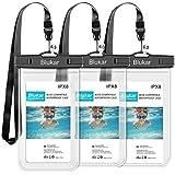 Blukar Custodia Impermeabile, [3 Pezzi] IPX8 Custodia Cellulare Impermeabile Universale per iPhone 5s / XS/Max/ 8 Plus Samsung S7-Due 6,0 Pollici, Uno da 6,5 Pollici