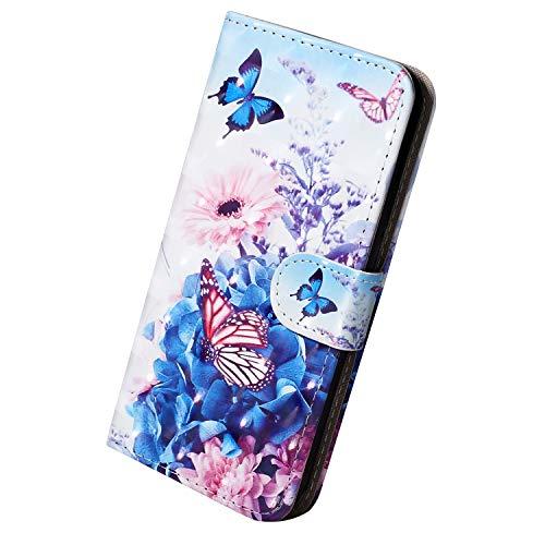 Herbests Kompatibel mit Samsung Galaxy S10e Hülle Klapphülle Leder Tasche Flip Schutzhülle Wallet Handyhülle 3D Bunt Muster Bling Glitzer Brieftasche Handytasche Case,Schmetterling Blumen