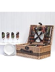 Buckingham–Cesta de picnic de mimbre de 4servicios, compartimento enfriador y accesorios
