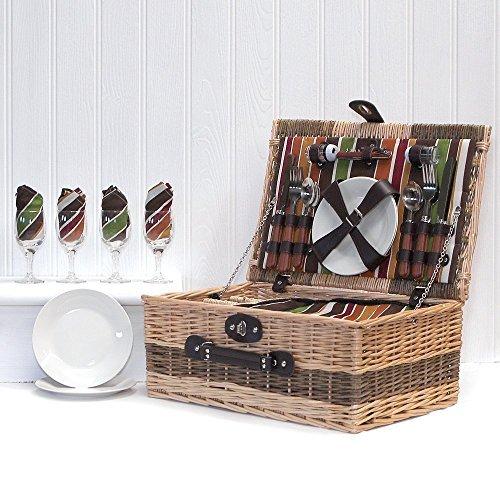 Osier panier pique-nique de luxe « Buckingham » pour 4 personnes avec des accessoires assortis - Une idée idéale de cadeau pour l'anniversaire, mariage, retraite