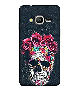 FUSON Designer Back Case Cover for Samsung Galaxy Z2 Tizen :: Samsung Z2 Corporate Edition (Skull Khopdi Kavti Gulab Lal Safed White )