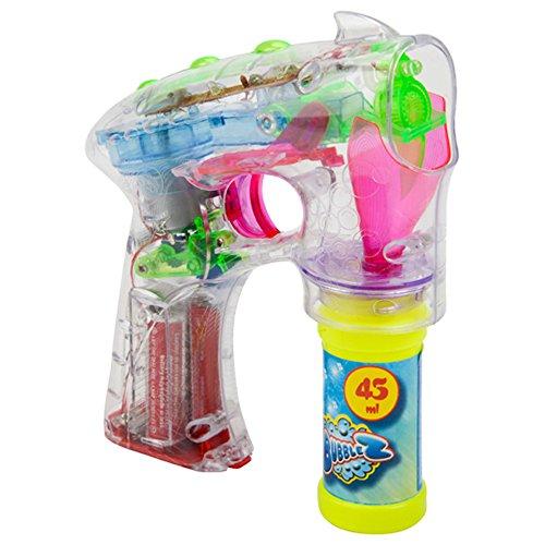 Seifenblasenpistole mit Licht inkl. Seifenblasenflüssigkeit (1 x Seifenblasenpistole)
