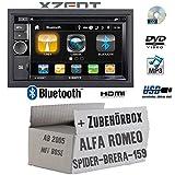 Alfa Romeo 159 Spider Brera Navi Bose - Autoradio Radio Xzent X-202BT MKII   2-Din Bluetooth DVD CD USB HDMI Touch Bildschirm PKW - Einbauzubehör - Einbauset
