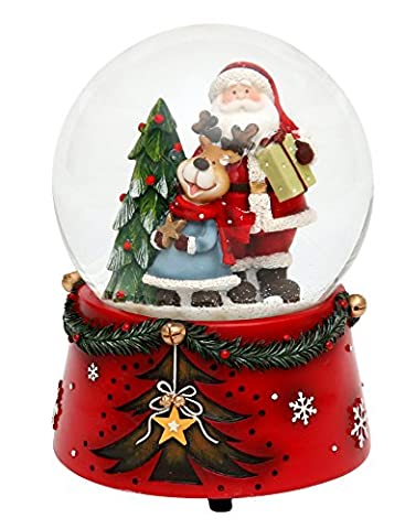 Wunderschöne XXL Schneekugel, Weihnachtsmann mit Spielwerk- Melodie