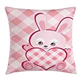 Baby Throw Pillow Cushion Cover, Diagonal Stripes Diamond Pattern Valentine's Bunny Giant Heart Plaid Love, Decorative Square Accent Pillow Case,Pale Pink Rose Magenta Size:16X16 Inches/40X40cm