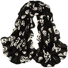 350c5737521 Fablcrew col châle foulards de plage Tête de mort Imprimé en mousseline  mort Écharpe Sarong pour