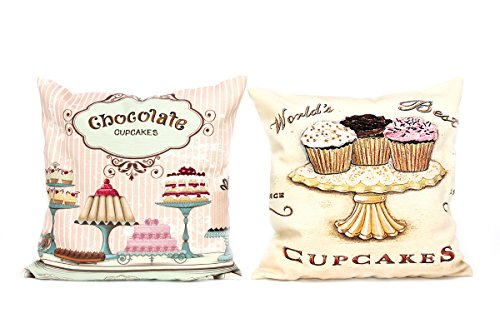 Kissenbezug Kaya 40x40cm Cupcake Muffin Torte Kissenhülle Vintage Torten Cupcakes Muffins Nostalgie Kissen Dekokissen - 3
