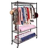Homdox Metall Kleiderschrank Rollgarderobe Kleiderständer, verchromt Metall kleiderstange, Kleiderregal, zwei Schuhablage mit Rädern, schwarz, 120x45x190cm