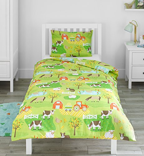 Bloomsbury Mill - Farmyard - Tractor & Farm Animals - Kids Bedding Set - Single Duvet Cover & Pillowcase