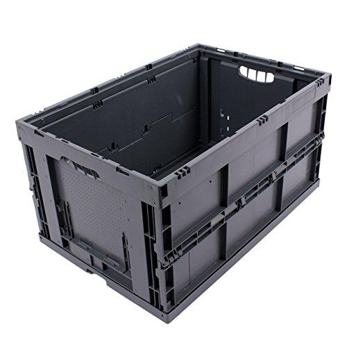 KLAPPBOX 61 Liter, stabile Faltbox, Made in Germany, 60x40x32cm, Kunststoff Transportkiste, Plastikbox, Transportbox, max. 60kg, Grau (Große Kunststoff Hund Kiste)