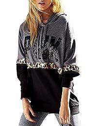 Azbro Mujer Sudadera con Capucha Estampado Leopardo Mangas Largas Color Bloque