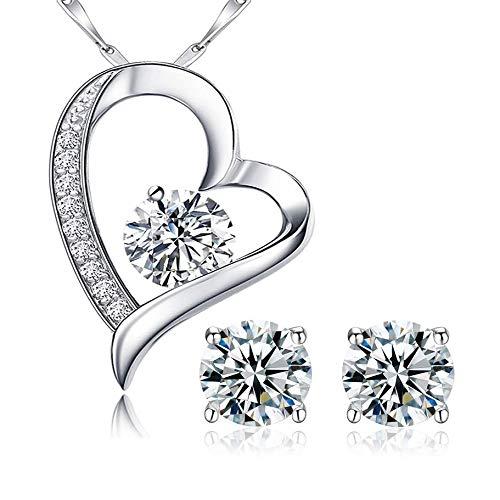 (Dazzling Duo Sterling Silber Anhänger und Ohrringe Set, Ohrstecker und Anhänger Halskette - mit 45,7 cm Silber Box Kette in Geschenkbox)