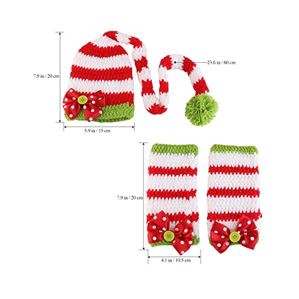 NUOLUX Disfraz Fotografía Props Crochet Sombrero y Ropa para Bebé en Navidad Día 2