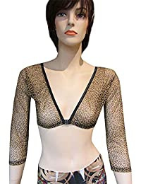 dc2c9e48a9ad7 FeiliandaJJ Slimming Arm Shaper for Women s Shapewear Top Leopard Print  Long Cropped Compression Basic Control Mesh