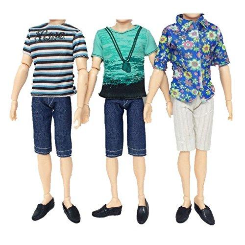 Preisvergleich Produktbild ASIV 3 jungen-Kurzarm-Shirts, 3 Paar Hosen Bekleidung für Barbies Freund Ken Prince Puppe, zufällige Stile, 6 Stück