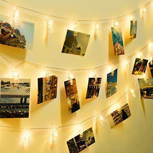 SUPERKIT LED Fotoclips Lichterkette, Foto Clip Bilder Lichterkette Batelle  40LED 6M Warmweiß Fotolichterkette Für Foto Memos, Kunstwerke, Party,  Weihnachten ...