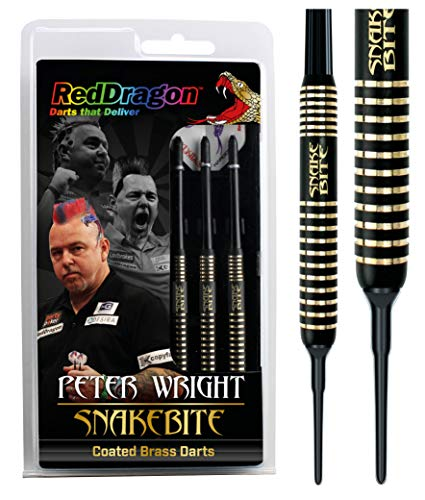 RED DRAGON Peter Wright Snakebite Brass Darts mit Flights und Schäfte (18g)