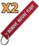 2x Remove Before Flight Warning Tag Keyring Keychain Pitot Cover Control Locks Etc. - 2