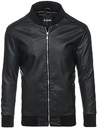 BOLF – Veste – Blouson – Faux cuir – Zip – Col haut – Biker – Motif – Homme [4D4]