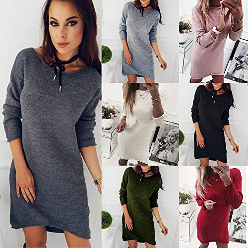 IZHH Damen Kleider Fashion Damen Solide O-Neck Sweater Lange beiläufige Langarm Pullove Dress Solid Farbe Pullover Minikleid Durchgehende Shirt Abendgesellschaft Dating Club Minikleid