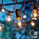 Lichterkette Außen, Tomshine G40 Lichterkette Glühbirne Warmweiß 7.62M/25FT Strombetrieben Aussen Wasserdicht Party Lichterkette (25 Birnen mit 3 Ersatzbirnen)