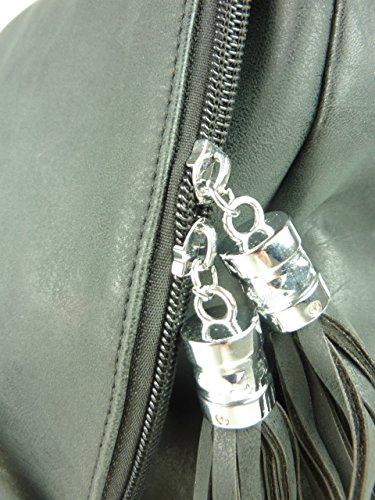Schultertasche Stern - Damen Umhängetasche mit Stil - Leder optik - 30 x 25 x 10 cm (schwarz) schwarz