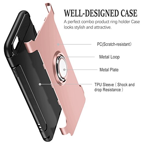 Cover iPhone 7, Cover iPhone 8, Coolden Dual Layer Cover Protettiva iPhone 7 Grip Ring Kickstand Cover Shock-Absorption Soft TPU Bumper Protezione Cover Custodia Case per iPhone 7 / 8 - Marina Oro Rosa