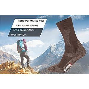 DANISH ENDURANCE Merino Wandersocken für Herren, Damen & Kinder, Trekkingsocken, Atmungsaktiv, Gepolstert, Antiblasen…