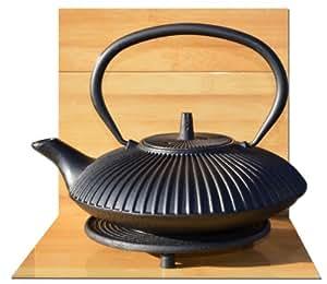 Théière en fonte noire zen d'inspiration japonaise avec repose-théière 0,8 l