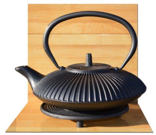 Sottopentola Nero & ghisa Tetsubin Zen Garden Nero Teiera bollitore 0,8litro in stile giapponese