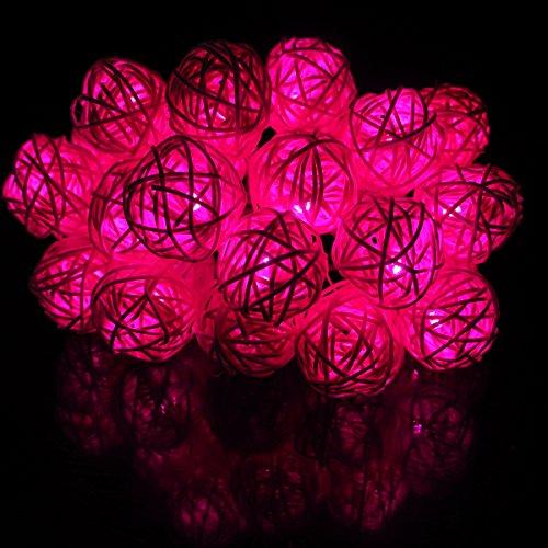 Lichterkette,LED Stripes Batterie Lichterketten 5m 25er LED Batteriebetrieben Lichtschlauch Kleiner Ball Rot für Kinderzimmer Zimmer Garten Partei Weihnachten CE Geprüft und Niederspannung Sicher