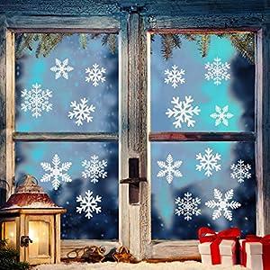 Naler 96 Schneeflocken Fensterbild Abnehmbare Fensterdeko Statisch Haftende PVC Aufkleber Winter Dekoration