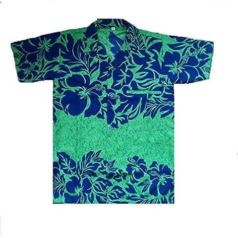 Saitark - Camicia hawaiana da uomo, motivo estivo con fiori d'ibisco