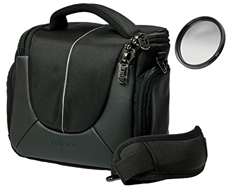Foto Kamera Tasche Yuma Black M Set Plus Polfilter 58mm für Canon EOS 80D 100D 700D 750D 760D 1200D 1300D mit 18-55mm is Objektiv