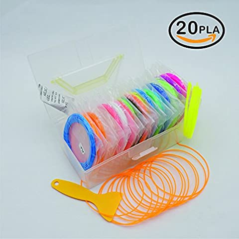 NanHong roll outThe New 3D Pen Filament Refills Storage box Kit 6 Glow in the Dark Colors 1.75mm pla.20 Colors/16 Feet Each Colors Kit,328 Linear Feet Total of.