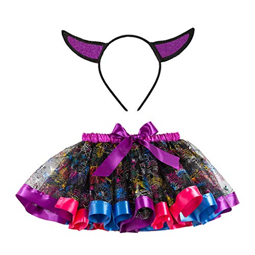 stüm 2Y-11Y Kinder Halloween Cartoon Pailletten Mesh Tutu Rock Tutu + Stirnband zweiteiliges Set für Halloween Party Festival Karneval Parade Mehrfarbig S ()