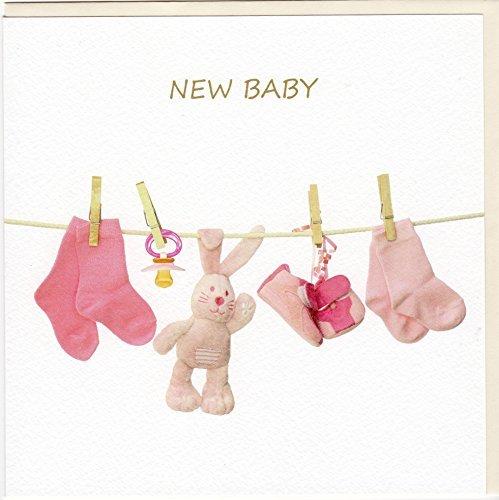 GOODmanCARDS Originelle Glückwunschkarte zur Geburt eines Mädchens auf edlem Stucco Tintoretto Karton FA7055