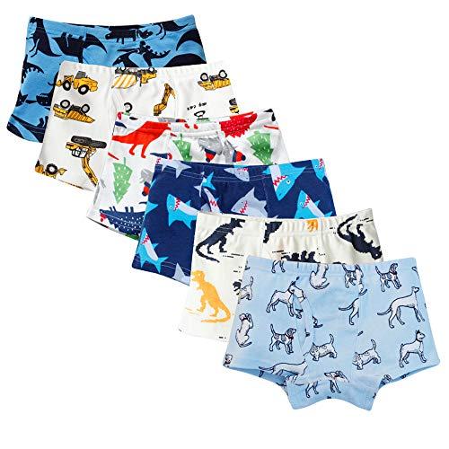 Anntry Kinder Weiche Baumwollene Unterwäschen Kleinkind 6-Pack Kleine Jungen Sortiert Boxer Shorts Slips 2-7 Jahre (Farben-2, 5-6 Jahre) - Baby-jungen-boxer-shorts