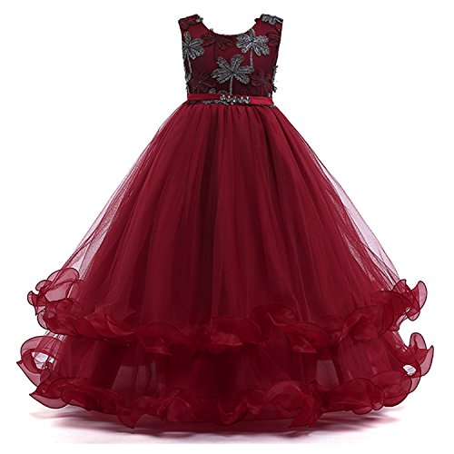 Sommerkleid Kinder Abendkleider Ballkleider Hochzeitkleid Ärmellose Lang Prinzessin Party Kleider Tüll Burgundy Dunkelblau (Etikett 160 für 11-12 Jahre alt Mädchen, Rot) (Party-kleid Für 12 Jahre Altes Mädchen)